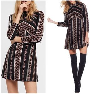 Free People Chain Mock Neck Long Sleeve Dress